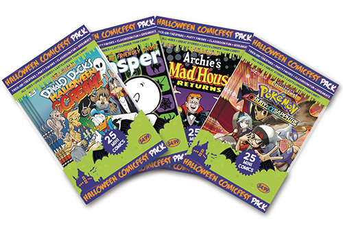 be the coolest house on this block this halloween by handing out comic books to trick or treaters with the halloween comicfest mini comic packs